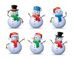 30 Cute Snowman Christmas Free Vector Graphics