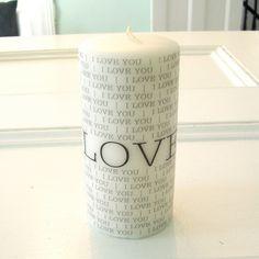 I Love You  // 3 x 3 Unscented Pillar Candle // von LumiereMemories, $12.00