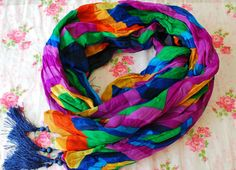 SALE  Violet Scarf Colorful Scarf Oriental Style by PinkkisShop
