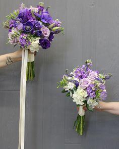 Purple Wedding Arrangements, Photography Portfolio, Floral Design, Floral Wreath, Wreaths, Bridal Bouquets, Ribbons, Plants, Train