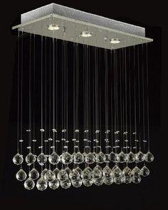 Modern Chandelier Rain Drop Lighting Crystal Ball Fixture Pendant Ceiling Lamp, H39 X W25 X Depth 10, 3 Lights, Free Shipping, $150. Great over a kitchen island.