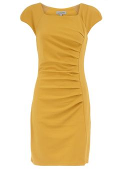 Mustard dress would be cute paired with a black blazer for work.