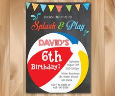 Beach Ball Party Invitation. Pool Party. Swim Party.