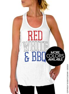 4th of July Tank Top - Red White and BBQ Tank Top - Flowy Tank Top - Red White and Blue - Patriotic - Stars & Stripes - America Tank Top by DentzDenim