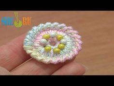 Crochet Round Button Tutorial 2 Long Spike Single Stitches Long Reverse Single Crochet Trim - YouTube