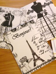 Parisian Charm Card Set     Set Of Three Note Cards by aunaturelle, $6.50