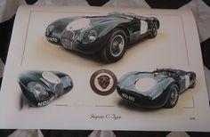 JAGUAR C TYPE XK120C BRITISH RACING GREEN 1951 PAINTING PRINT ARTWORK BRAND NEW Artwork Prints, Painting Prints, Limited Edition Prints, Jaguar, Badge, British, Racing, Hand Painted, Brand New
