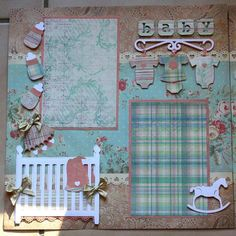 Shabby chic scrapbook page. Cute for a baby boy or girl! Love the decorations and set up of this page! Baby Girl Scrapbook, Baby Scrapbook Pages, Kids Scrapbook, Scrapbook Paper Crafts, Christmas Scrapbook, Album Scrapbook, Scrapbook Layout Sketches, Scrapbooking Layouts, Scrapbook Designs
