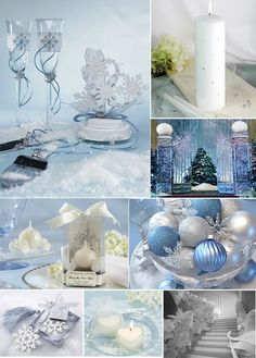 décoration de table mariage en blanc et bleu pâle