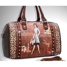 NICOLE LEE PRINTED BOSTON PURSE GITANA VINTAGE PRINT COSMETICS ANTIQUE FASHION STUDDED ANIMAL LEOPARD PRINTED WOMEN HANDBAG,$61.99