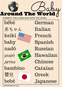 Free Printable Baby Shower Games | Printable Games  your guests have to match the correct foreign word for baby with the country it's used in.  Your guests will love this game, and the best part is: It's Free!