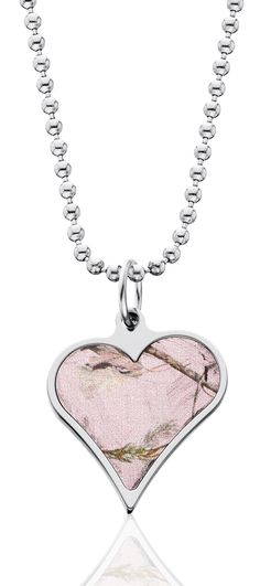 Realtree Pink Camo Titanium Heart Pendant Necklace