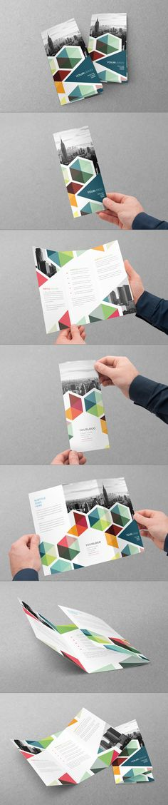 Colorful tri-fold business brochure template by Abra Design. Polygonal, hexagon inspired layout with simple color blocks and photo cut-outs in this modern and geometric brochure design. Web Design, Flyer Design, Book Design, Layout Design, Creative Design, Print Design, Branding Design, Template Brochure, Brochure Layout