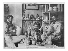 size: Giclee Print: The Martin Brothers in the Studio at the Southall Pottery (B/W Photo) by English Photographer : Martin Brothers, Expensive Art, Pottery Marks, Canvas Prints, Art Prints, Art And Architecture, Artist At Work, Poster Size Prints, Giclee Print