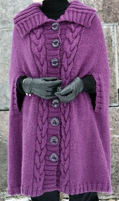 Lapel Collar Button Down Poncho Sweater Jacket Plus Size Cardigan Outerwear Gilet Crochet, Knit Or Crochet, Knitted Cape, Knitted Shawls, Knitted Coat Pattern, Loom Knitting, Knitting Patterns, Knitting Machine, Tricot D'art