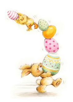 Happy Easter, Rabbit Holding Painted Eggs and Chick card. Easter Illustration, Rabbit Illustration, Easter Art, Easter Crafts, Easter Clip Art Free, Diy Easter Cards, Happy Easter Cards, Cards Diy, Ostern Wallpaper