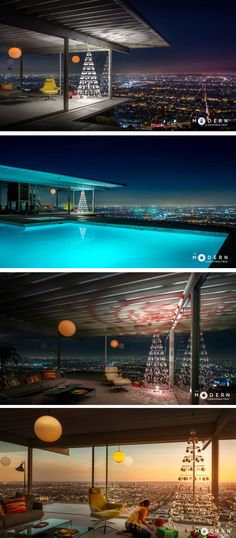 The Modern Christmas Tree company got permission to do a photo shoot in the iconic Stahl House overlooking Los Angeles