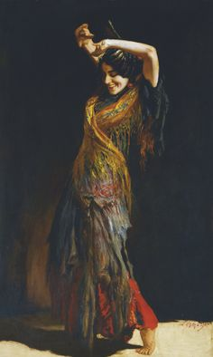 The Flamenco Dancer. Leopold Schmutzler (German, Oil on canvas. The Flamenco Dancer is proficiently executed with a detailed but free handling of the paint and it is characterised by a. Dance Paintings, Gypsy Women, Flamenco Dancers, Tribal Belly Dance, Pre Raphaelite, Classical Art, Renoir, Oeuvre D'art, Traditional Art