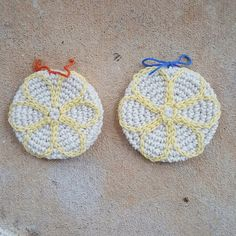 two lemon shortbread crochet cookies,  crochetbug, crochet cookies, crochet sugar cookie, crochet gingersnap, crocheted, crocheting, crochet circle, crochet circles, crochet scarf