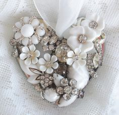 White Vintage Jewelry Embellished Ornament by glassbeadtreasures, via Flickr