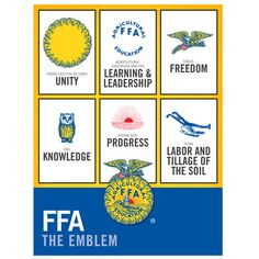 a breakdown of the FFA emblem.....will laminate this and have it in my classroom!