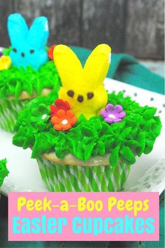 Super cute Peek-a-Boo Peeps #Easter Cupcake Recipe - I am sure they will get a kick out of the colorful bunnies playing peek-a-boo with them!