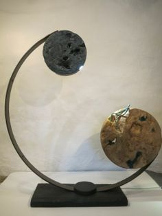 Steel, elm burr, oak, patinised copper Indoor Abstract #sculpture by #sculptor Ket Brown titled: 'Blue Moon' #art