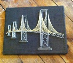 "Vintage Mid Century Modern String Art Brooklyn Bridge Picture 20""x16"" Geometric 