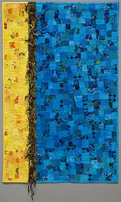 'Blue Yellow' by Marie Jensen at the Northwest Contemporary Art Quilt Invitational. The art quilt is 24 x Quilt Inspiration, Backing A Quilt, Crumb Quilt, Fabric Embellishment, Textile Fiber Art, Contemporary Quilts, Patch Quilt, Texture Art, Peacocks