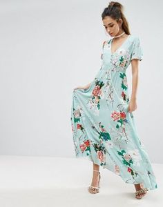 Boohoo Floral Detail Button Maxi Dress