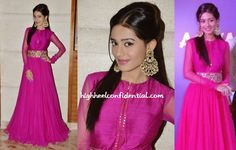 Amrita attended Mayyur Girotra's store opening wearing a coral dress by the designer. Keeping the look simple was a good move on her part. She looked great.  She was also spotted in another Mayyur Girotra a few weeks ago wearing a pink floor-length anarkali to a corporate event. The color looked good on her and while we like the colored nails, not a fan of their length. We've said this before and we'll say it again. If you're gonna go bright, keep it short.