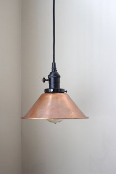 "Industrial Pendant Light Cone Round Copper 8"" Shade with Black Socket Brass Plug In or Canopy Kit Rayon Cloth Covered Wire"