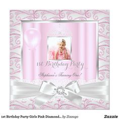 1st Birthday Party Girls Pink Diamonds Tiara 5.25x5.25 Square Paper Invitation Card