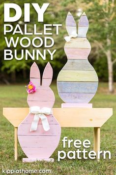 This Easter bunny decoration project only takes a few minutes to build from the reclaimed pallet wood. FREE Pattern and step by step tutorial. Easter Projects, Easter Crafts For Kids, Easter Ideas, Easter Recipes, Spring Crafts, Holiday Crafts, Wood Pallets, Pallet Wood, Diy Pallet