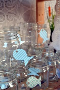 A Baby Shower for Baby Huck To Entertain Boy, Vintage, Rustic, Backyard, Mason Jar, Fish paper