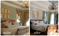 blue tray ceiling | before after 600x375 When Your Tray Ceiling Looks Like a Wedding Cake ...