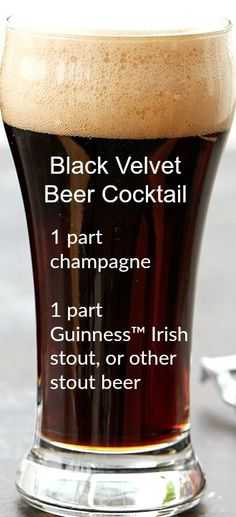 Black Velvet Beer Cocktail ~ Equal parts champagne and stout beer, this mixed drink is as easy as they come but tastes like nothing you've ever had.
