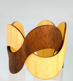 Charlotte Maple/Walnut Wood Cuff Bracelet