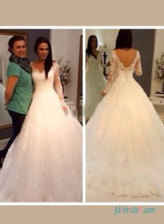 Romance illusion lace long sleeves ball gown wedding dress