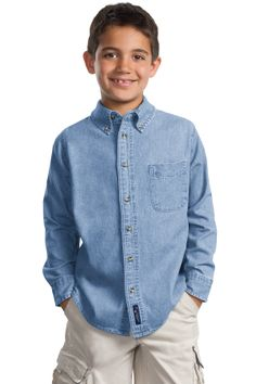 Youth Denim Shirt - Buy wholesale 100% cotton port & company youth long sleeve value denim shirt at Gotapparel.com.