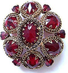 Schreiner Ruby Red Glass & Goldtone Filigree Brooch