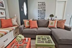 Impressive Colors That Match Coral mode Other Metro Contemporary Living Room Inspiration with beige rug black accent wall brown sectional brown sofa built-in bench chalkboard wall glass Coral Living Rooms, Living Room Grey, Living Room Decor, Coral Bedroom, Brown Sectional, Brown Sofa, Gray Couches, Gray Sofa, Black Accent Walls