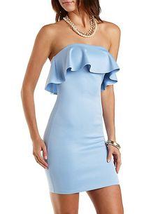 Strapless Bodycon Dress with Ruffle #charlotterusse #charlottelook