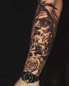 World of Statues God Tattoos, Forarm Tattoos, Warrior Tattoos, Badass Tattoos, Life Tattoos, Body Art Tattoos, Tattoos For Guys, Tatoos, Best Sleeve Tattoos