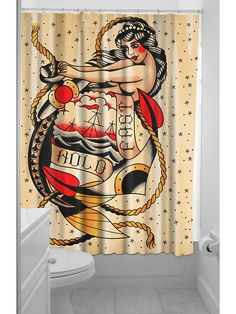 """Hold Fast"" Shower Curtain by Sourpuss Clothing #InkedShop #showercurtain #bathroom #decor"