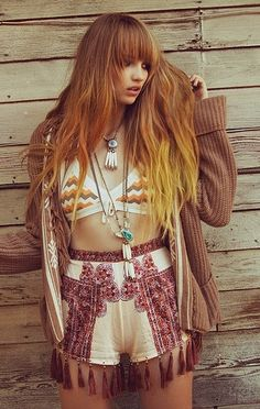 Ginger ombré hair in a very boho festival look Beach Wavesvisit us for #hairstyles and #hair advice www.ukhairdressers.com |
