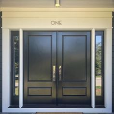 [ONE] serious case of entry envy. 📷 via featuring our Thorburn Semi-Flush Mount. Double Front Entry Doors, Black Front Doors, Modern Front Door, Wood Front Doors, Front Door Entrance, Door Entryway, Wooden Doors, Wooden Main Door Design, Double Door Design