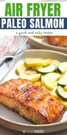 BEST Air Fryer Salmon - quick, easy, and delicious! Air Fryer Salmon, Paleo recipe that's delic Air Fryer Recipes Chips, Air Fryer Recipes Vegetables, Air Fryer Recipes Easy, Vegetable Recipes, Healthy Salmon Recipes, Seafood Recipes, Vegetarian Recipes, Dinner Recipes, Best Salmon Recipe