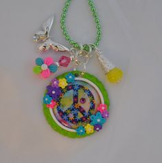Flower Peace Sign Bottle Cap Necklace Jewelry
