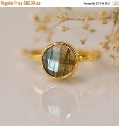 SALE - Labradorite Ring - Gemstone Ring - Stacking Ring - Gold Ring - Round Ring